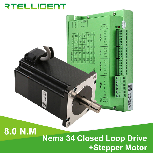 Factory Outlet Nema 34 8.0N.M Closed Loop Stepper Motorwith Nema34 T86 Closed Loop Stepper Motor Driver Stepper Driver CNC Kit