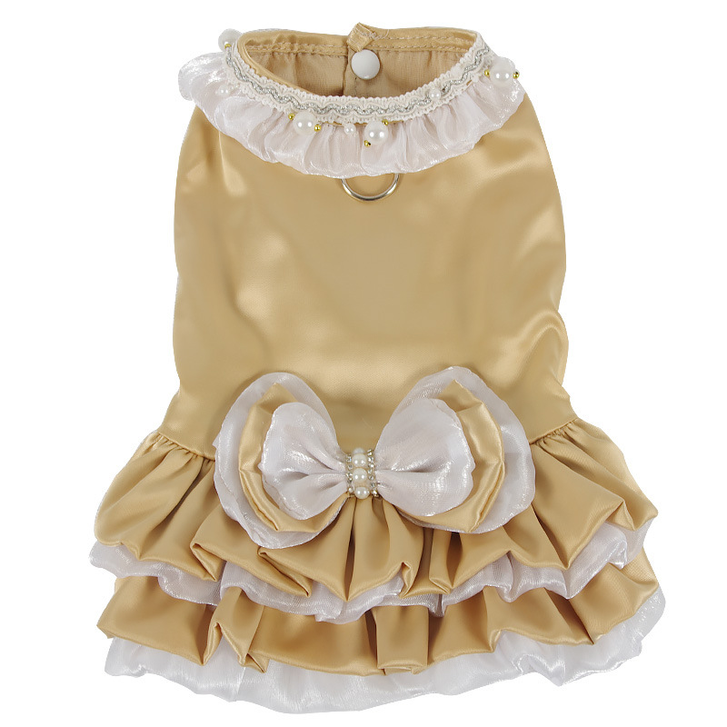 Clothing Dogs New Arrivals Dog Dress and Harness Bowknot Ruffle Layer  My Pet World Store