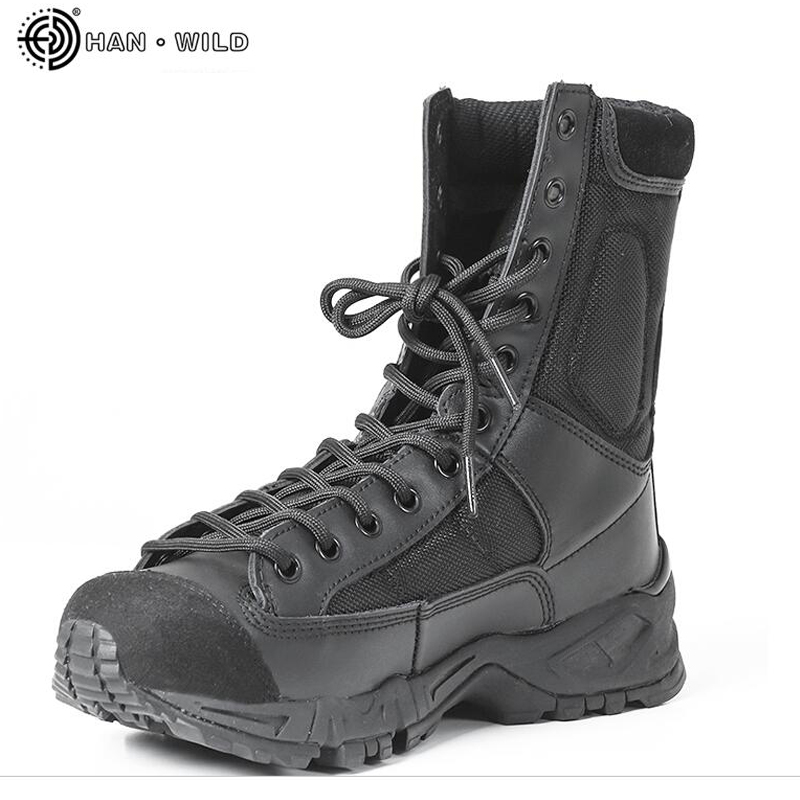 Mens Leather Tactical Army Boots Men Ankle Strap Black Plus Size 37-46 Work Shoes Combat Military Boot Man