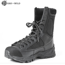 Mens Leather Tactical Army Boots Men Ankle Strap Black Plus Size 37-46 Work