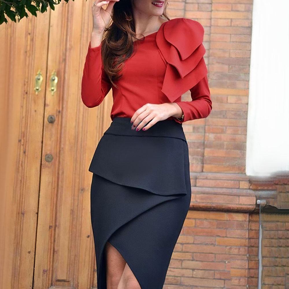 Elegant Women Color Block OL Two Piece Sets Vintage Red Shirt Mid-Calf Asymmetrical Skirt Party Suit Office Clothing Africa