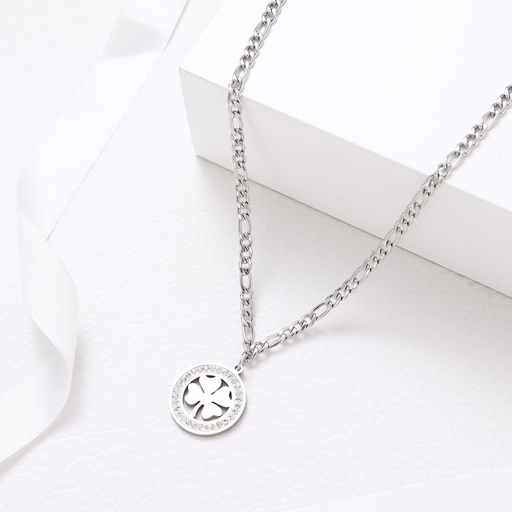 Crystal Round Clover Necklace For Women And Men Stainless Steel Cuban Chain Necklaces New Statement Wedding Gifts Jewelry S767