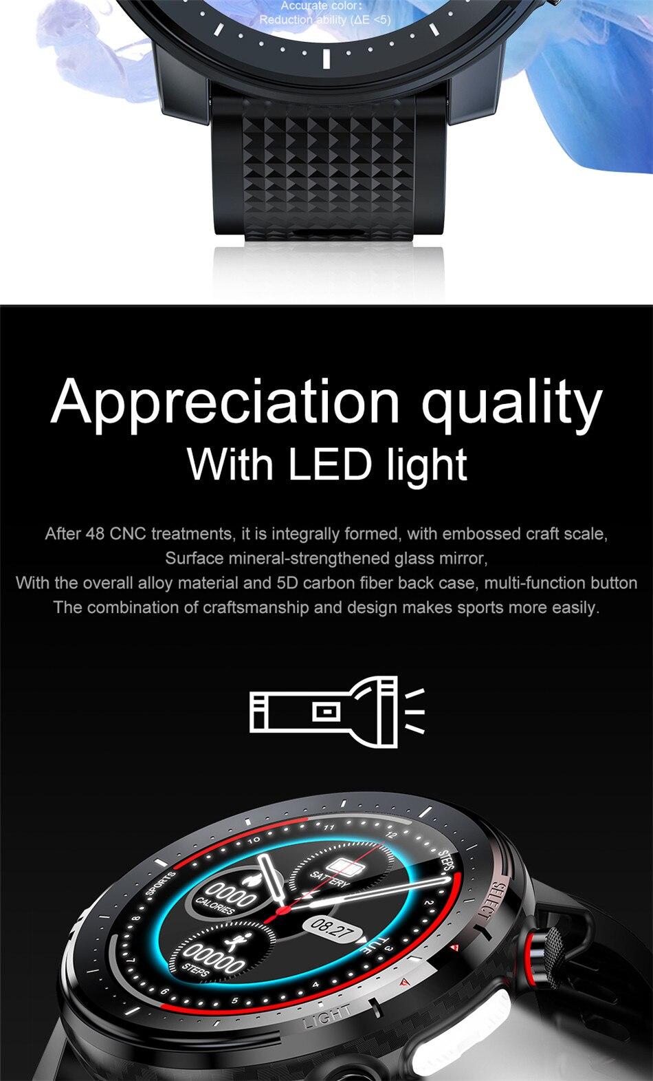 de pressão arterial led lanterna esportes fitness rastreador smartwatch