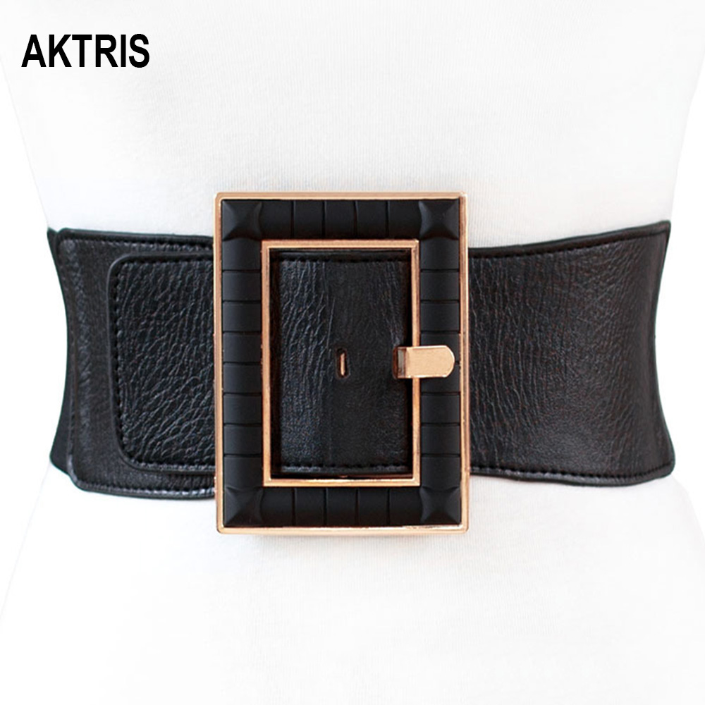 AKTRIS Ladies Design Decorative PU Leather Elastic Waistband Black Waistline Patent Leather Wide Belt For Women 75mm Width AK011