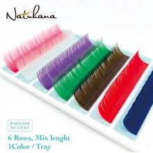 NATUHANA Premium Mink Red Pink Brown Purple Blue Green White Rainbow EyeLash Extension Natural Soft False Fake Colored Eyelashes