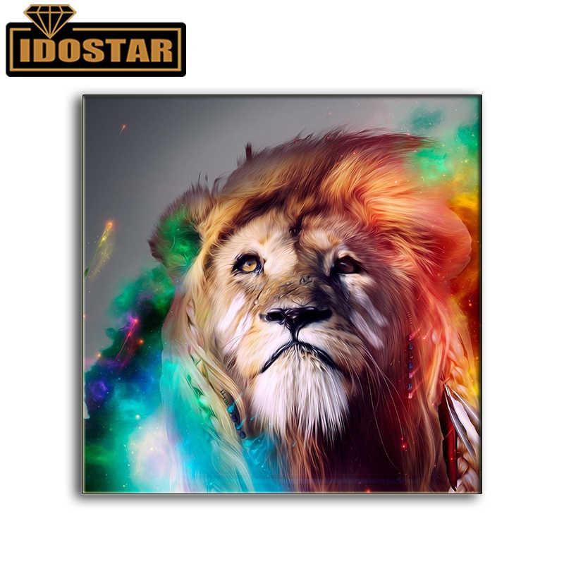 Vollständige kreisförmigen 5D DIY Diamant Malerei Bunte lion Diamant Stickerei Von Strass Diamant Wohnkultur