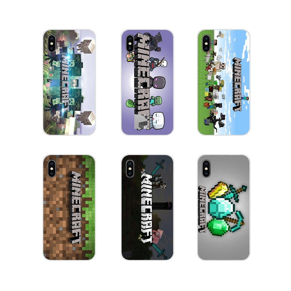 movie game Minecraft logo For Samsung Galaxy S3 S4 S5 Mini S6 S7 Edge S8 S9 S10 Lite Plus Note 4 5 8 9 TPU Transparent Skin Case image