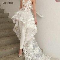Sexy New White Jumpsuits Wedding Dresses Long Train Lace 3D Floral Appliques Bridal Gown