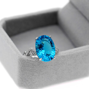 Image 2 - Uloveido Natural Blue Topaz Ring, 10 Carat Gemstone,925 Silver Rings,Birthstone Ring, with Certificate and Gift Box 20% FJ304