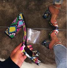 2019 Slippers Pumps High Quliath Heel for Women Shoes Pvc Sandals Plastic Color Snake Pattern Thick