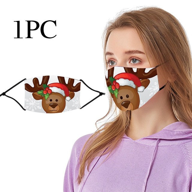 #25 1pc Chrismas Printing Adult Mask Protective Reusable Washable Comfortable Outdoor Dustproof Windproof Cycling Face Masks 2