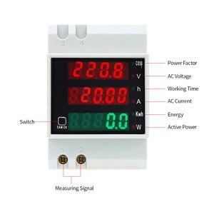 Image 3 - D52 2047 AC 80 300V 0 100A Su Guida Din LED Voltmetro Amperometro Tensione contatore di Energia Attiva del Fattore di Potenza Volt di Corrente multi funzione