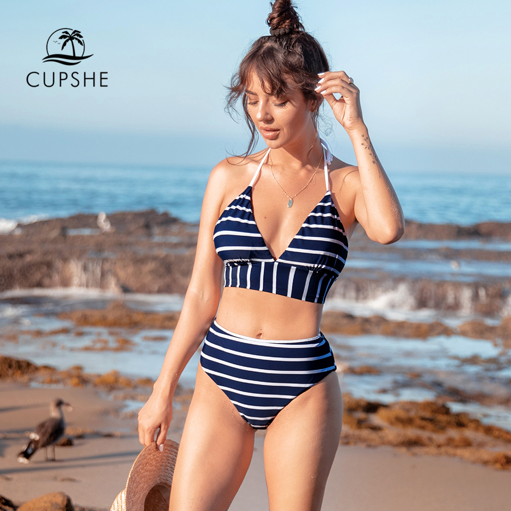 CUPSHE Navy And White Stripe Longline Bikini Sets Sexy Halter Lace Up Swimsuit Two Pieces Swimwear Women 2020 Beach Bathing Suit