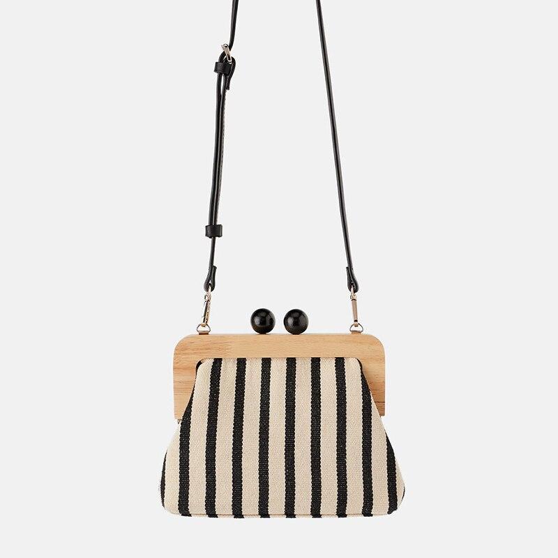 Vintage Striped Women Handbag Canvas Small Shoulder Bags Fashion Clip Clutch Bag Purse Ladies Mini Crossbody Tote Bolsa Feminina