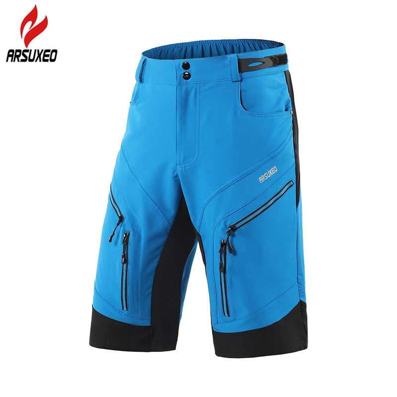 ARSUXEO Men's Cycling Shorts Loose Fit Light Waterproof Outdoor Sports Shorts Mountain Bike Bicycle Riding Downhill MTB Shorts