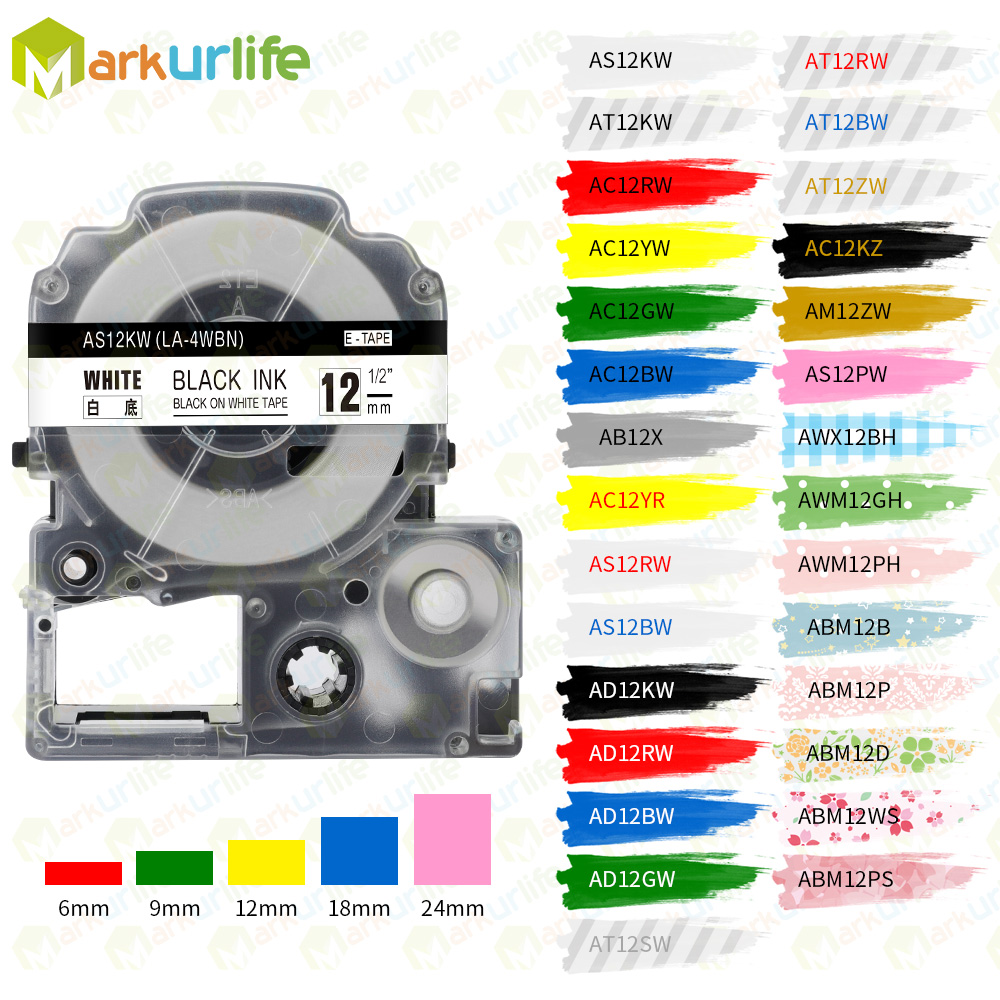 1 PCS Label Tapes SS12KW Compatible For EPSON LW-300 LW-400 LW-600P LW-700 LC-4WBN9 Printer (12mm*8m Black On White) Label Maker