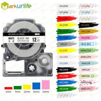 1 PCS label Tapes SS12KW Compatible for EPSON LW-300 LW-400 LW-600P LW-700 LC-4WBN9 Printer (12mm*8m Black on White) label maker лента epson lc 4wbn9 для epson labelworks lw 300 lw 400 lw 400vp lw 700 lw 900p черный