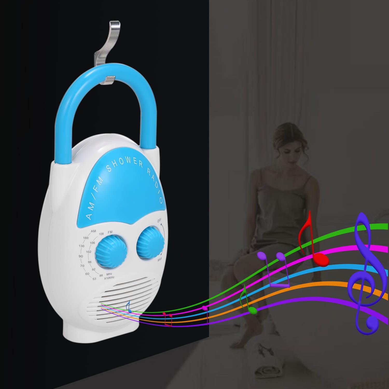 Black Mini FM Am Waterproof Shower Music Hanging Radio Suit Bathroom Bath Cabin Black Powerful Hi-Fi Speakers Portable Radio Operated