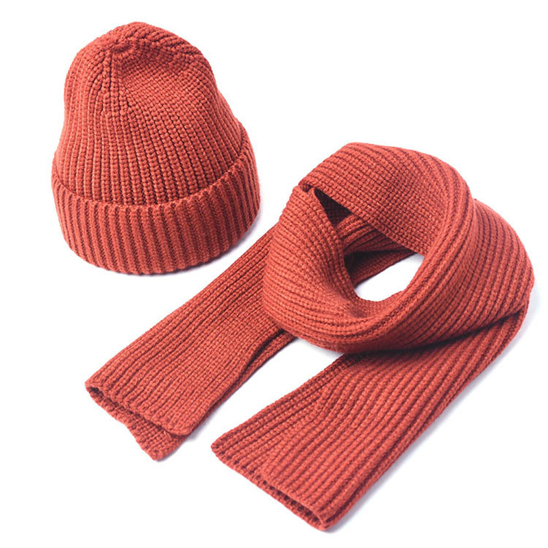 2019 Children Knitted Scarf And Hat Set Luxury Winter Warm Crochet Hats Scarves 2pcs/set Solid Color Beanies Hat For Boys Girls