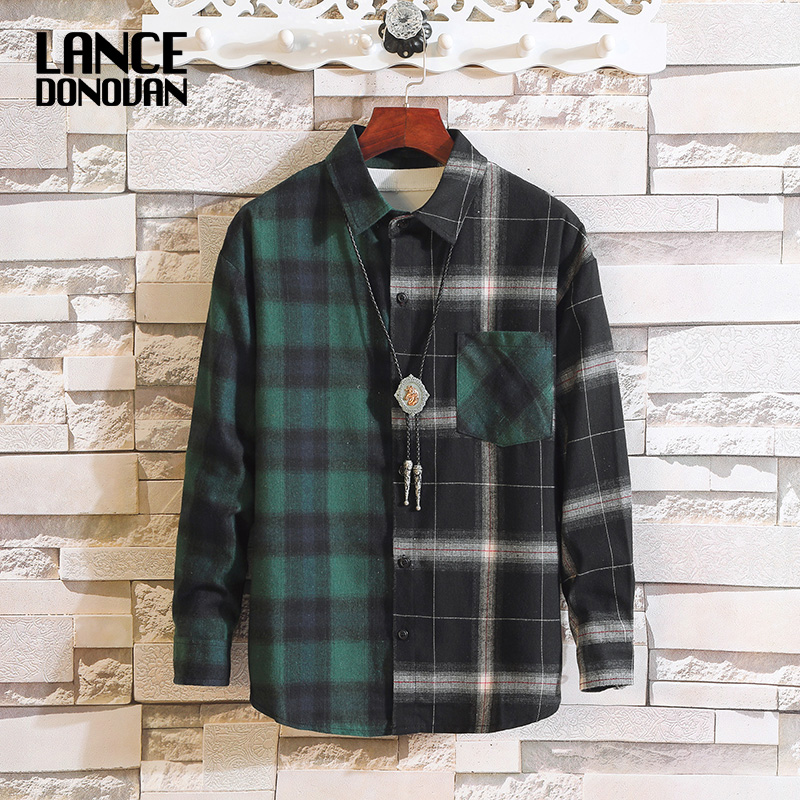 Japan Style Long Sleeve Flannel Plaid Casual Men Shirt 2020 For Spring Autumn Clothes