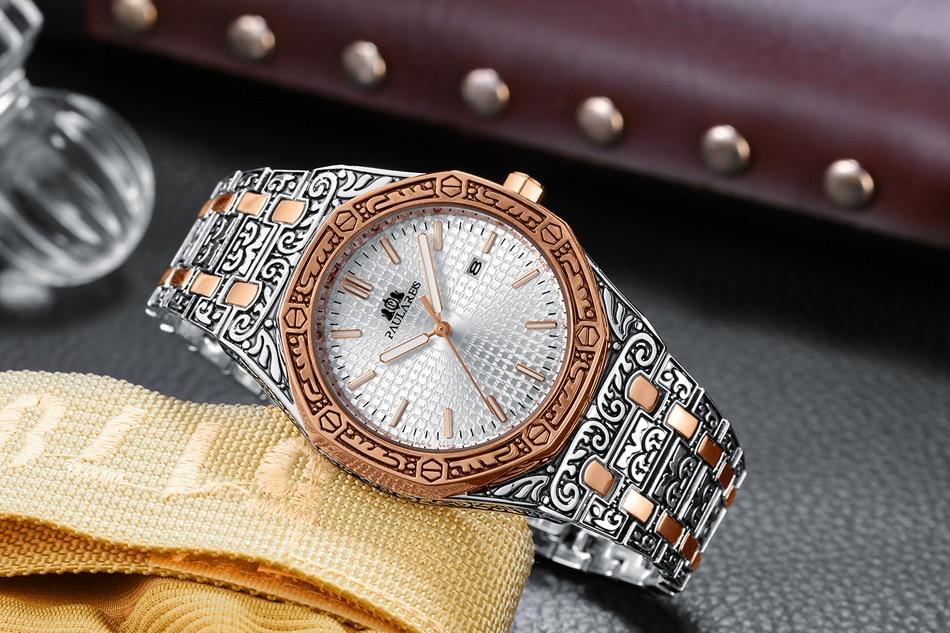 H10635ebea0c04baa8f79b7b7ea1abbafw Men Carved Antique Vintage Luminous Rose Gold Yellow Gold Silver 2 Tones Fashion Blue Classic Quartz luxury watch