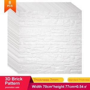 Image 1 - 70*77*0.8 3D duvar çıkartmaları su geçirmez köpük dekorasyon kabartmalı yatak odası oturma odası DIY yapışkanlı ev çıkartmaları PE taş paneller