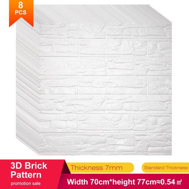 70*77*0.8 3D קיר מדבקות עמיד למים קצף קישוט בולטות חדר שינה סלון DIY דבק תוצרת בית מדבקות PE אבן פנלים