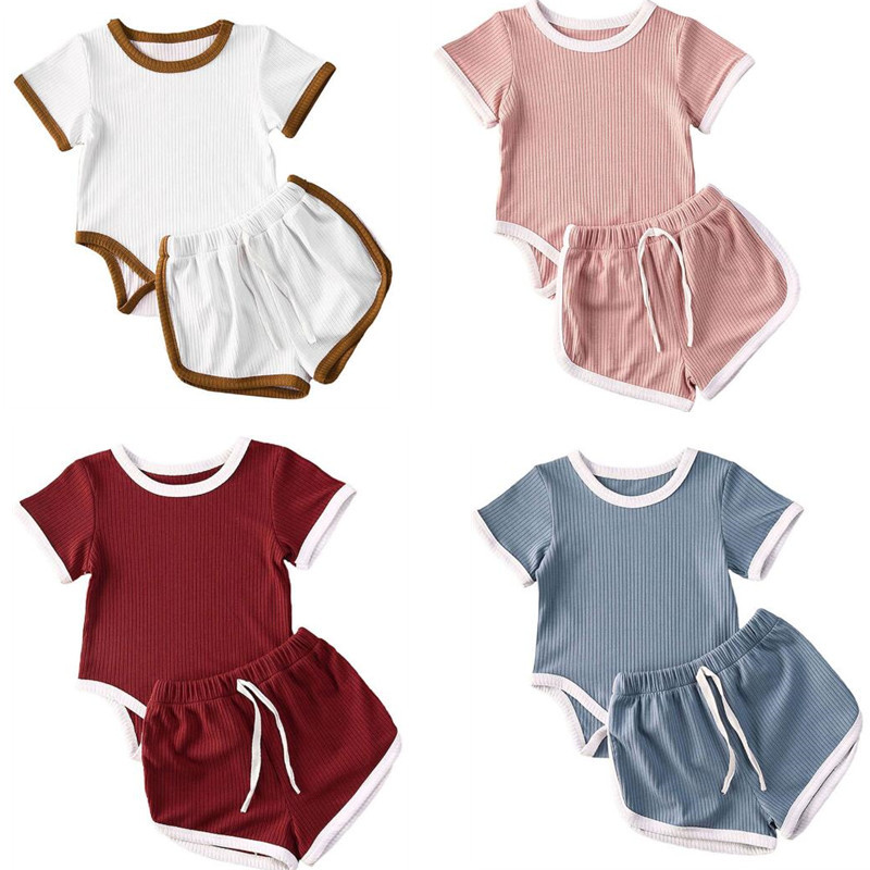 Summer Newest 2PCS Newborn Baby Girls Boys Cotton Clothes Short Sleeve Casual Striped Tops T-Shirt+Shorts Little Baby Outfit