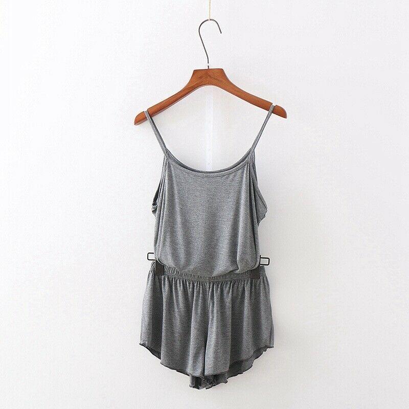 2020 Summer Camisole + Shorts Suit Pajama Sets Women Casual Two Piece Solid Color Home Wear Sleepwear Nightwear