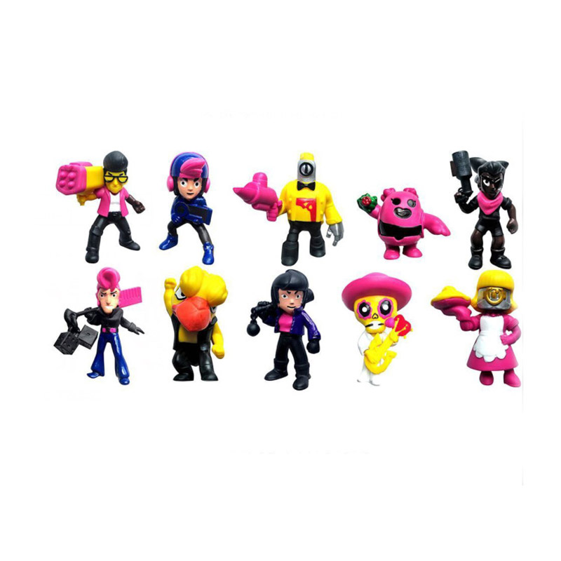 10pcs/lot Brawl game cartoon star hero figure model Spike Shelly Leon PRIMO MORTIS doll kawaii cute toy gift for boy girl kids