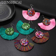Vintage statement Tassel earrings fashion drop earring for women white yellow bohemian fringed earrings 2019 jewelry wholesale(China)