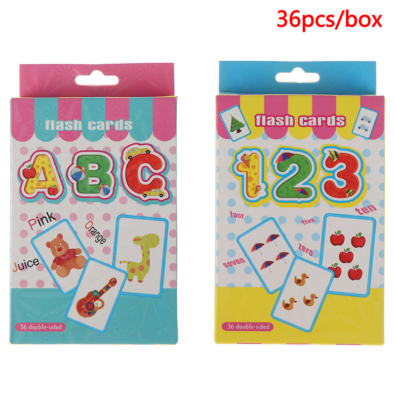 36Pcs Baby Learning Cards Infant Kids Letter Number Flash Cards Kindergarten Literacy Game Montessori Toy Puzzle Educational Toy