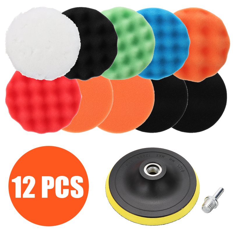 12pcs 125mm Sponge Car Polisher Waxing Pads Buffing <font><b>Kit</b></font> for Boat Car Polish Buffer Drill Wheel polisher Removes Scratches image