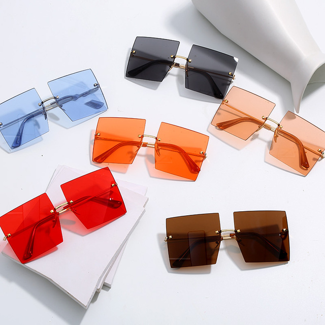 Trendy Oversized Square Sunglasses Women Personality Fashion Sexy Red Brown Tinted Color Lens UV400 Retro Ladies Sun Glasses 6