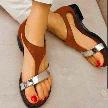 Women's Gladiator Sandals 2021 Low Heel Leather T-Strap Rome Sandals Cover Heel Buckle Strap Woman Mixed Colors Bohemian Shoes