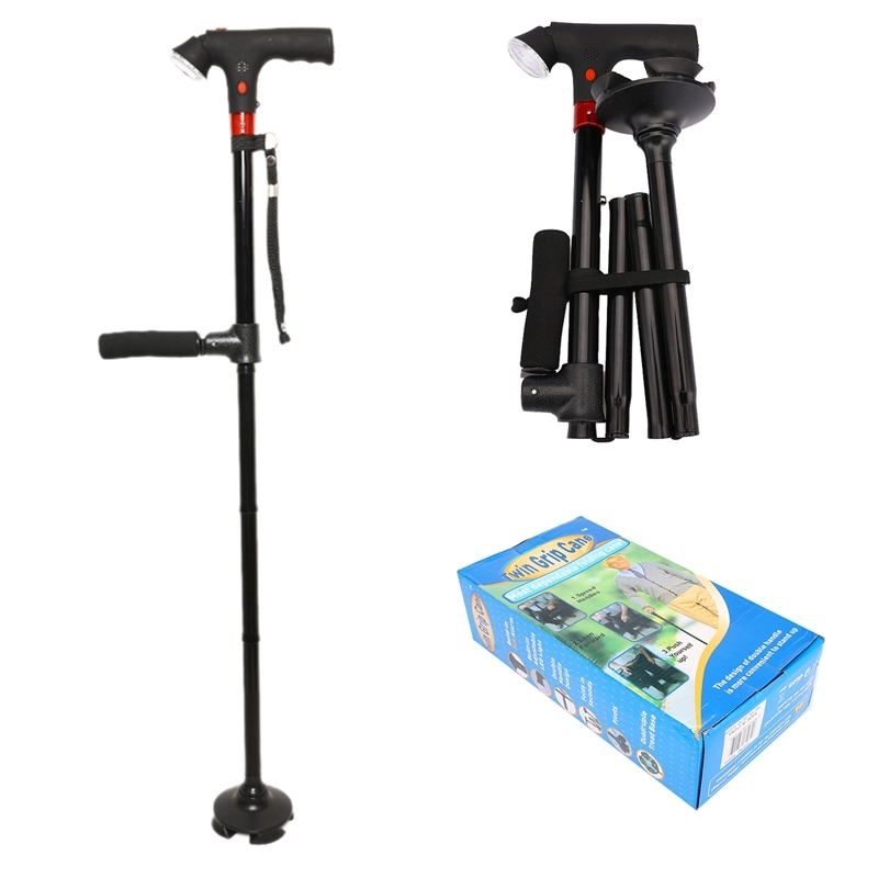82 94 cm Collapsible Telescopic Folding Cane with LED Light SOS Alarm Aged Walking Sticks Poles Outdoor Hiking Poles CrutchWalking Sticks   -