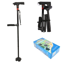 82 94 cm Collapsible Telescopic Folding Cane with LED Light SOS Alarm Aged Walking Sticks Poles Outdoor Hiking Poles Crutch