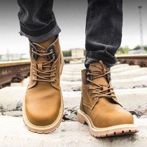 Image 2 - Ботинки на платформе с заклепками; Мужская обувь размера плюс; Модель 2020 года; Дизайнерские рабочие ботинки со стальным носком; Неразрушаемые ботинки