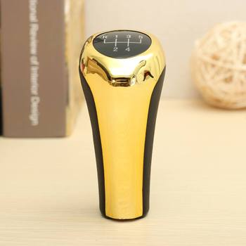 Leather 5 Speed Gear Shift Knob Lever Shifter Handball Golden Universal For BMW 3 5 6 7 Series E90 E91 E46 image