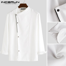 INCERUN Men Chic Restaurant Cooking Long Sleeve Jackets Chef Uniforms Bakery Breathable Overalls Men&Women Workwear Size S-5XL