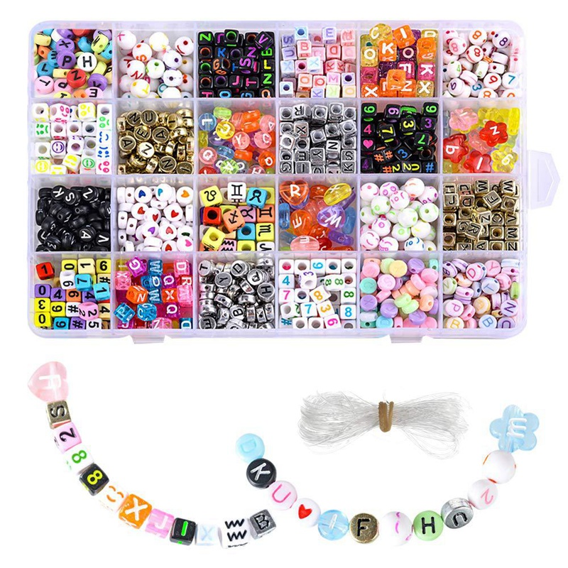 English Letter Acrylic Beads Square Flat Alphabet Beads Charms Bracelet Necklace For Jewelry Making DIY Set