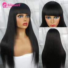 AliPearl Hair Wigs Straight Human Hair Wigs With Bangs For Black Women Remy Machine Made Cheap Brazilian Wigs Ali Pearl Hair Wig(China)