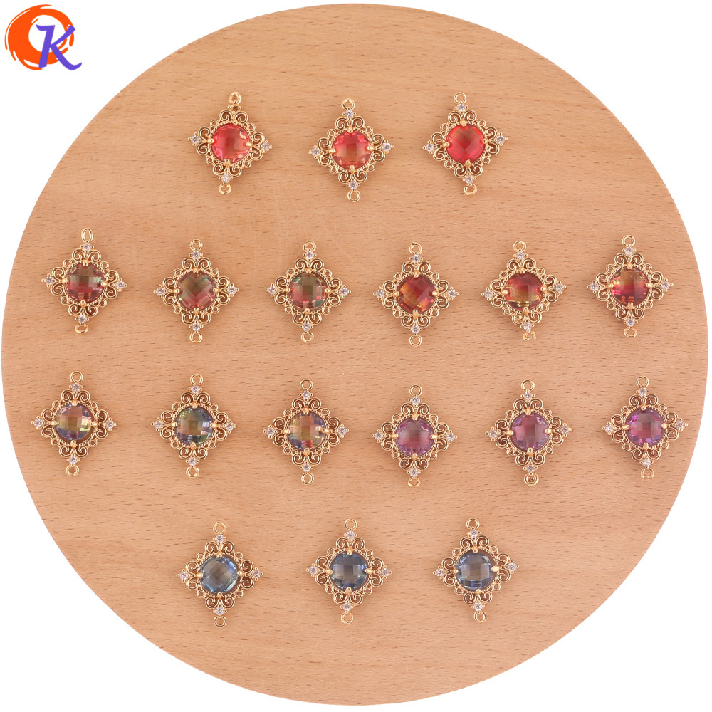 Cordial Design 30Pcs 18*22MM Jewelry Accessories/Hand Made/Crystal Earrings Connectors/Square Shape/DIY Making/Earring Findings