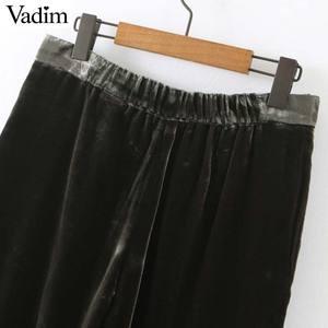 Image 3 - Vadim feminino elegante veludo calças compridas elatic cintura zíper voar bolsos escritório wear sólido casual tornozelo comprimento calças kb207