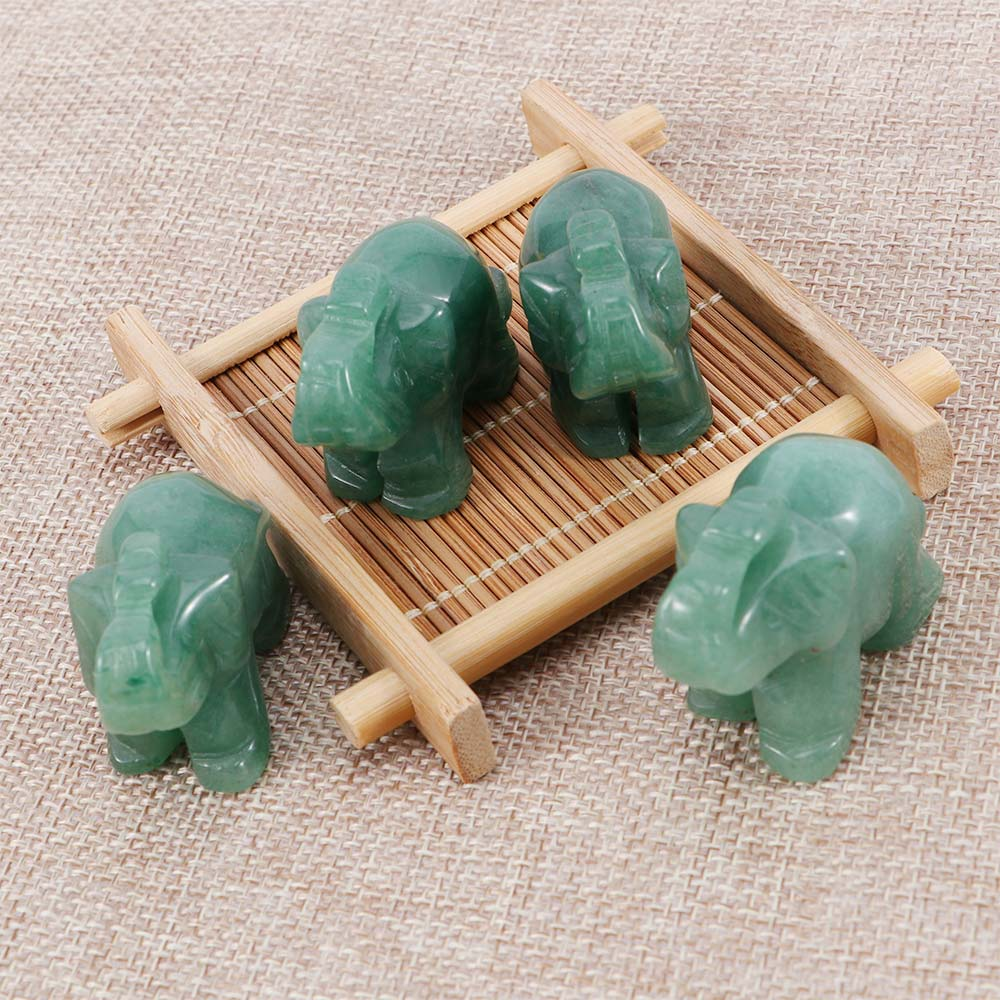 Elephant Statue Decor Figurine Jade-Stone Craving Hand-Carved Lucky Natural Green 1pcs