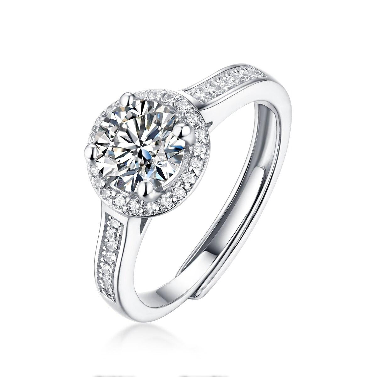 Bague Moissanite de fiançailles 0.5-3ct plaqué or blanc Style classique diamant bijoux 925 bague de mariage en argent Sterling pour les femmes