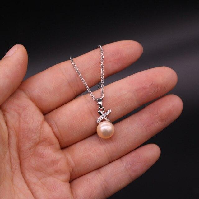 Perle en forme de pain et diamant bricolage artisanat collier fabrication de bijoux 45cm + chaîne en acier inoxydable + boîte-violet