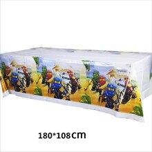 1 sztuk Ninjago Theme obrus Birthday Party chłopcy dzieci dobrodziejstw stół dekoracyjny pokrywa Happy Baby Shower wydarzenia mapy 108*180 CM