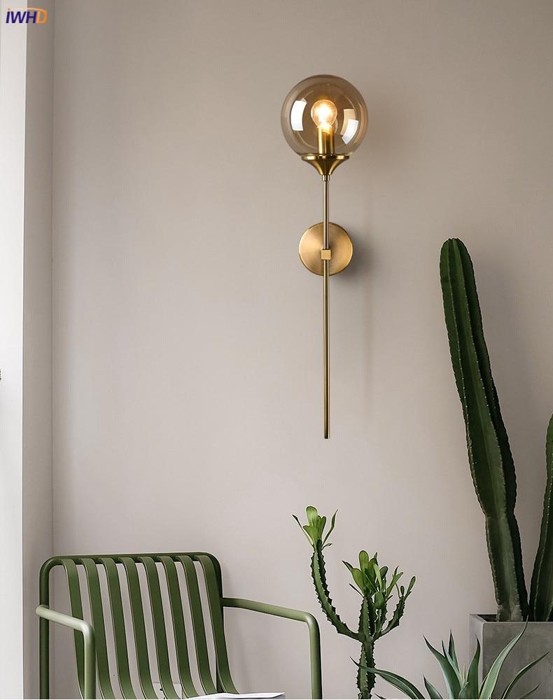 Nordic Modern Wall Lamp Beside Bedroom Glass Ball LED Wall Lights Fixtures Wandlamp Lighting Bathroom Mirror Stair Light (2)
