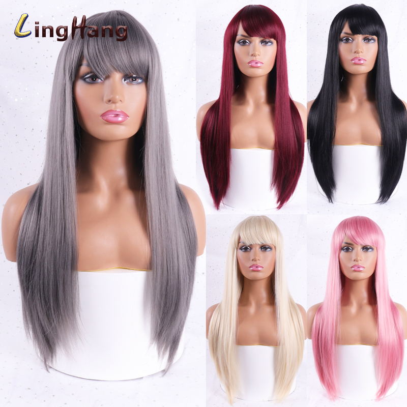 LINGHANG Long Straight 613 Blonde Synthetic Wigs With Bangs For Women Cosplay Hair Wig Heat Resistant Black Brown Hairpiece